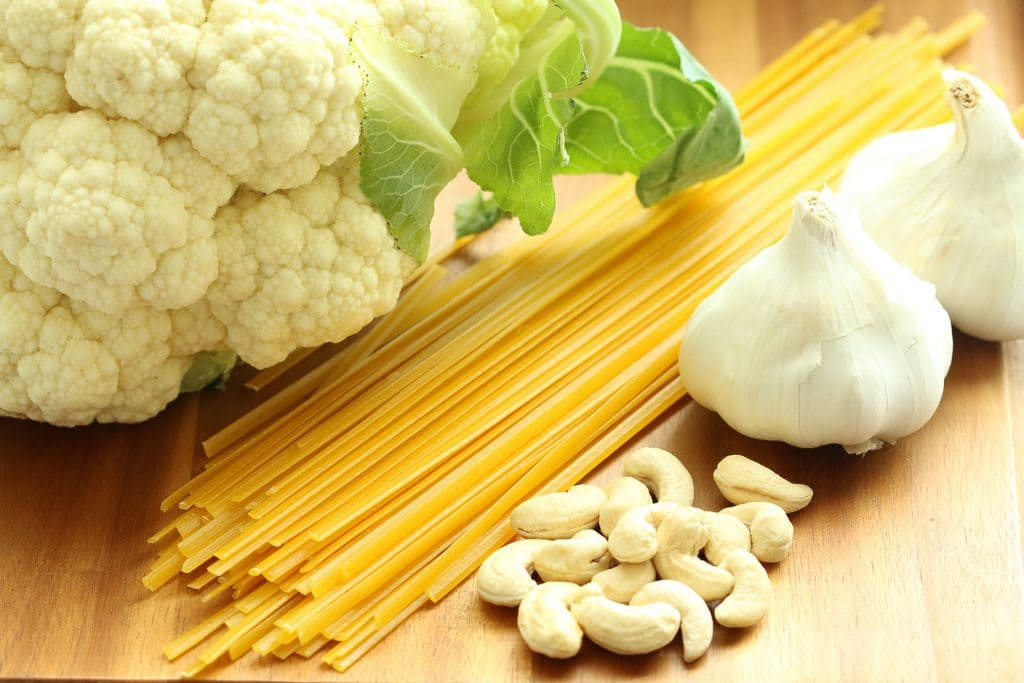 Creamy Plant-based Cauliflower Alfredo Raw Ingredients