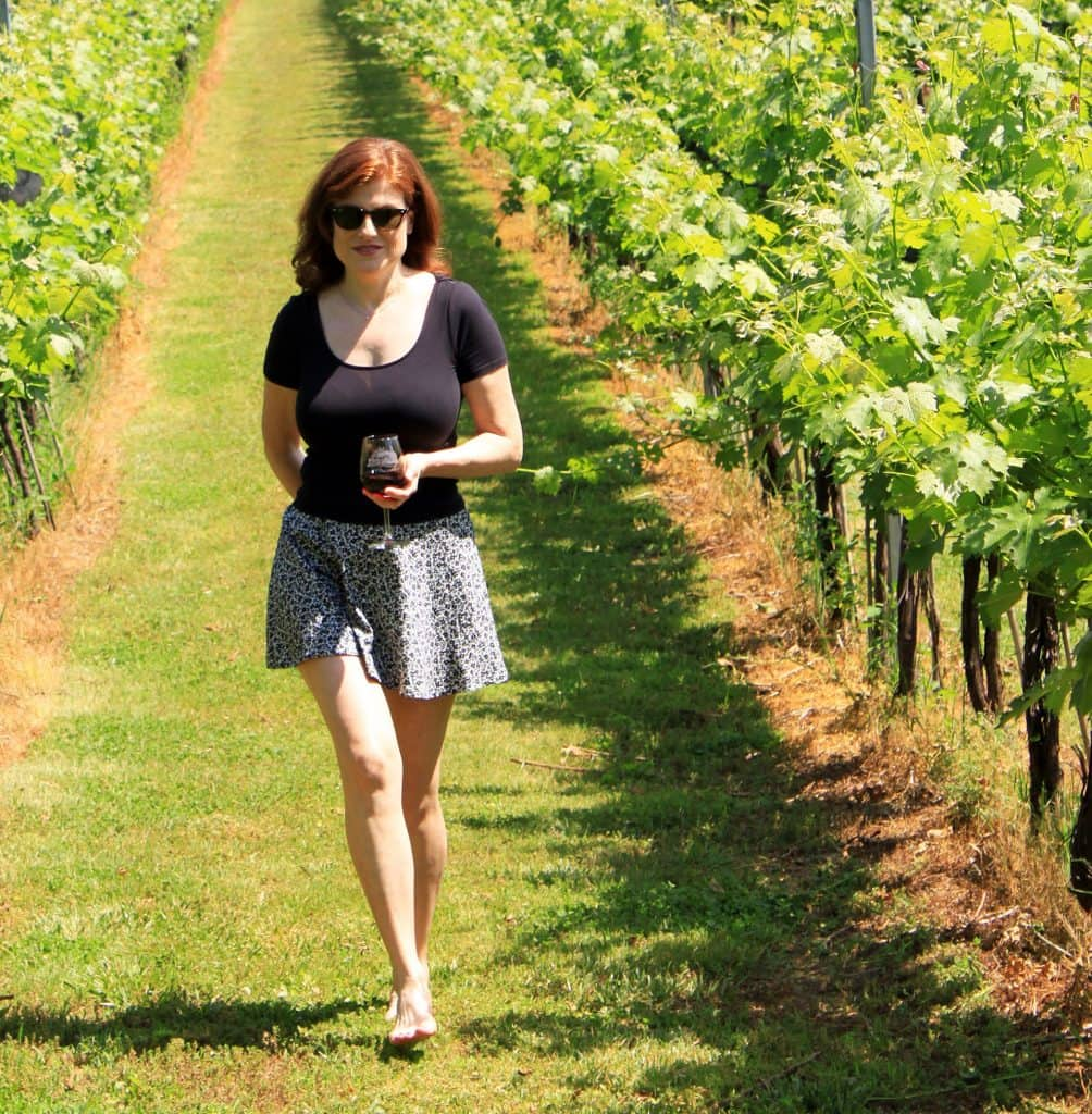 Winery at La Grange - Jana Walking among Vines