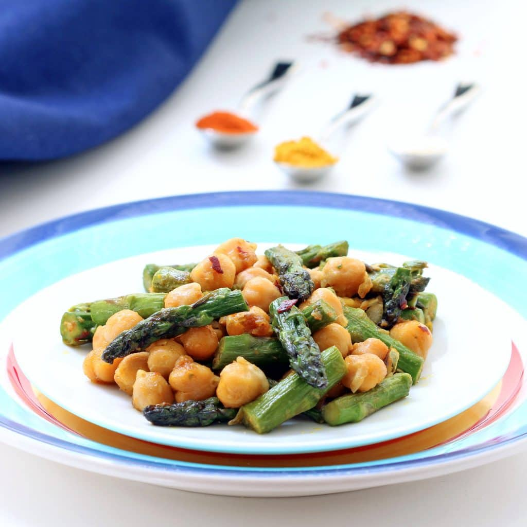 Curried Asparagus and Chickpeas