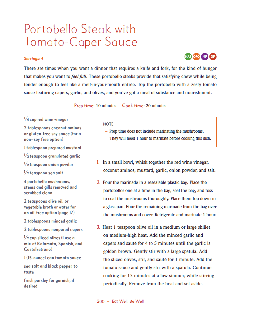 Portobello Steak with Tomato Caper Sauce excerpted from Eat Well, Be Well Cookbook