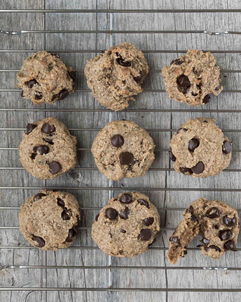 Cashew Flour Chocolate Chip Cookies Cooling Rack